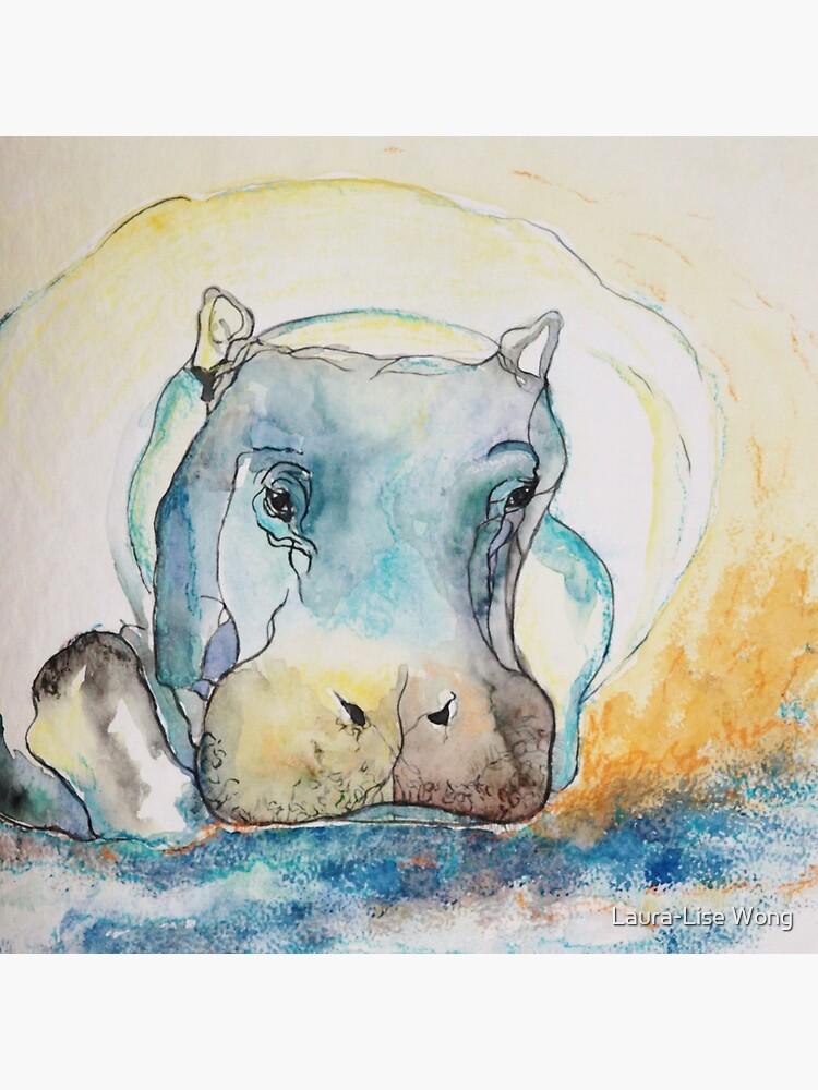 Water Color Hippopotamus by crazycanonmom