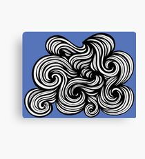 Precise Abstract Expression Blue White Canvas Print