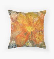Stefania Silk Arts: Yellow abstract Himalayan Meconopsis Throw Pillow