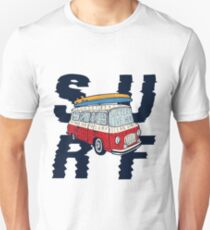 Surf - Vintage Colorful Bus With Bright Surfboards on its Top Unisex T-Shirt