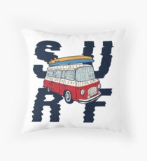 Surf - Vintage Colorful Bus With Bright Surfboards on its Top Throw Pillow