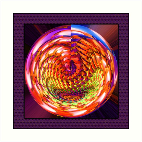Framed glass spiral by Gaspar Avila