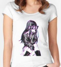 SCHOOLGIRL (Glitch) - Sad Japanese Anime Aesthetic Women's Fitted Scoop T-Shirt