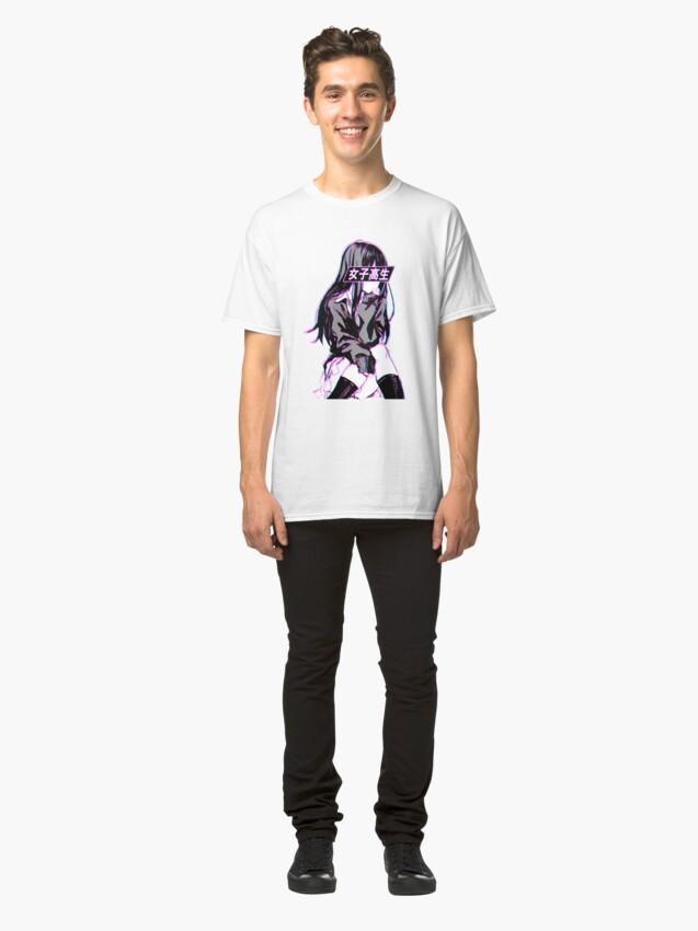 Alternate view of SCHOOLGIRL (Glitch) - Sad Japanese Anime Aesthetic Classic T-Shirt