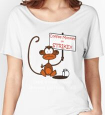 Coffee Monkey on STRIKE!! Women's Relaxed Fit T-Shirt