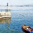 Arona: boat, pier and four swans by Giuseppe Cocco