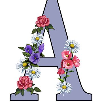 Letter A, Initial, Monogram, With Floral Art by Joyce
