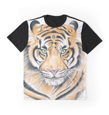 Bengal Tiger Grumpster Watercolor Ink Drawing