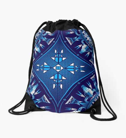 Buffalo Gathering Blue Drawstring Bag