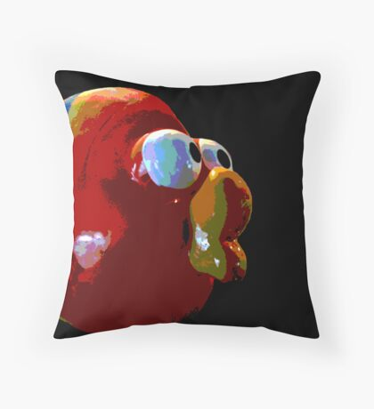 Big Mouth Red Fish Throw Pillow