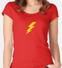Lightening Bolt Super Character Cartoon T-Shirt Duvet Women's Fitted Scoop T-Shirt