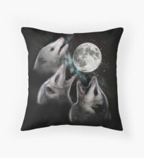 3 Opossum Moon Throw Pillow
