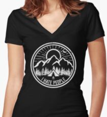 Camping I Hate People Camping Lovers Mountain Climbing Hiking Gift Shirt Women's Fitted V-Neck T-Shirt