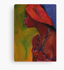 Lady With Red Head-Dress Canvas Print