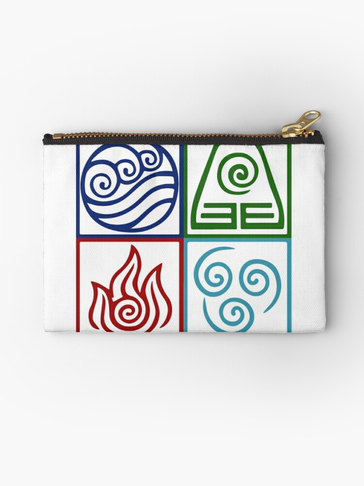 Four Elements Symbol Avatar Studio Pouches By Daljo Redbubble