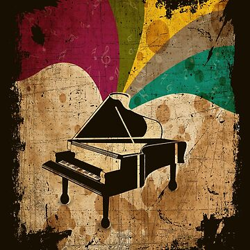 Vintage Grand Piano Distressed Retro Color by Teeming
