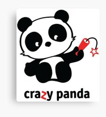 Crazy Panda White Outline Canvas Print
