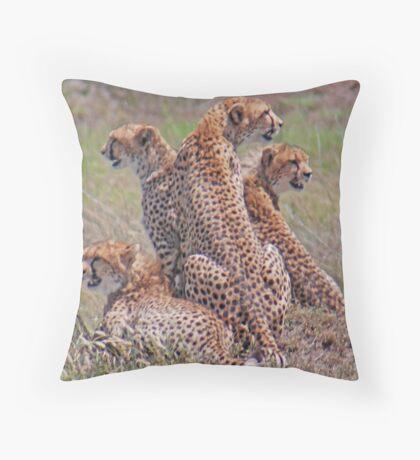On the Lookout. The cheetah family.  Serengeti National Park, Tanzania Throw Pillow