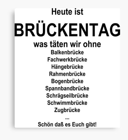 German wordgame for Brückentag Canvas Print