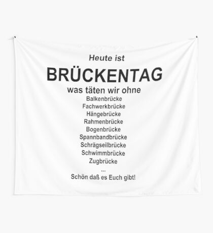 German wordgame for Brückentag Wall Tapestry