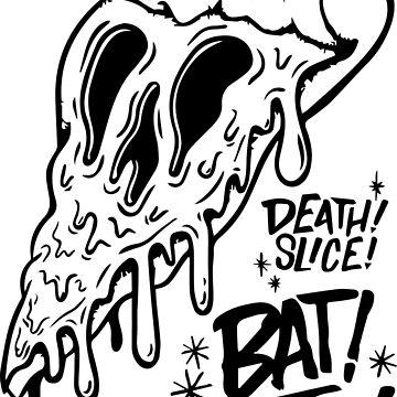 death slice bat butt skeleton creepy dead animation food pizza cream mozzarella art cool love by domskalis