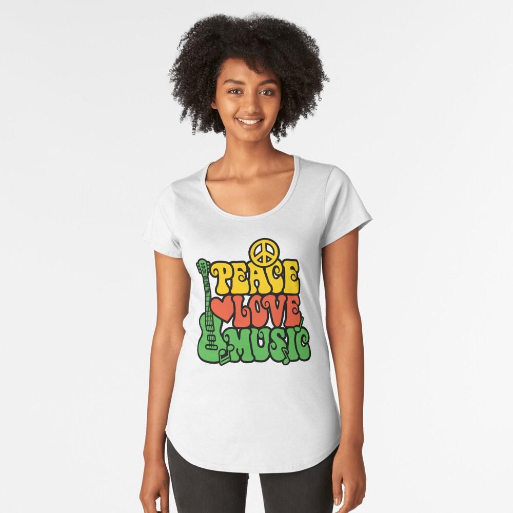 Reggae Peace-Love-Musik Premium Rundhals-Shirt