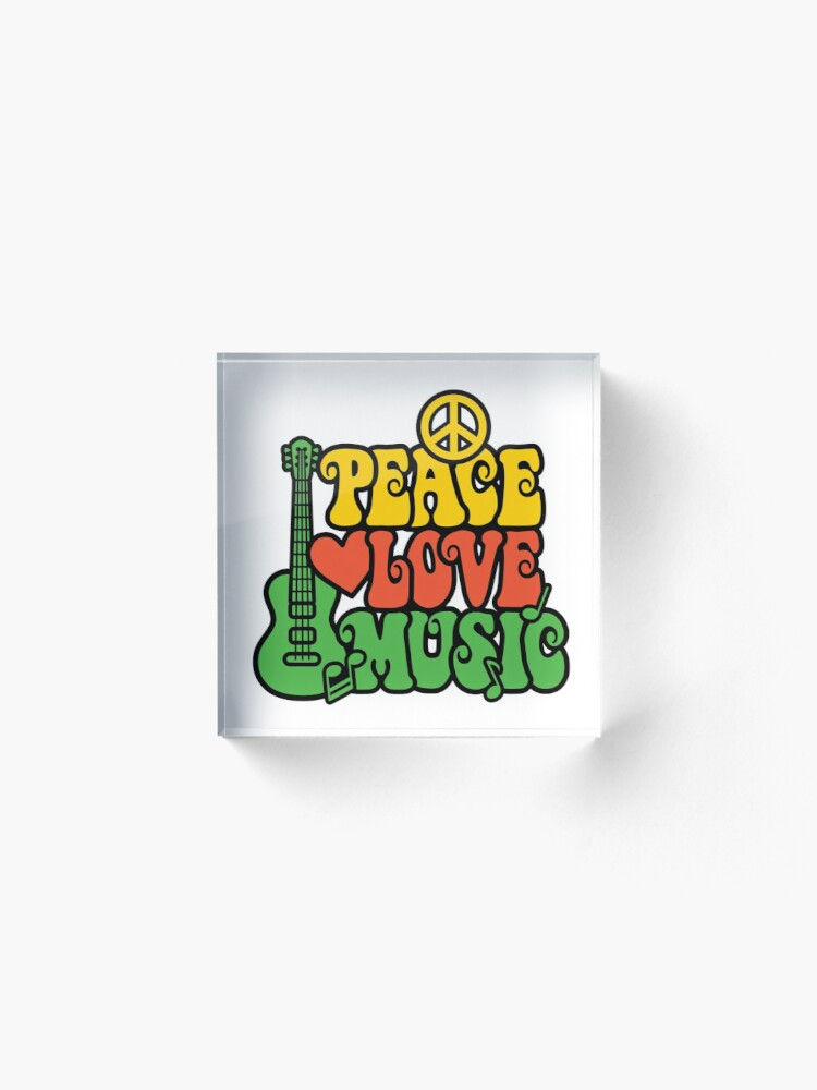 Alternative Ansicht von Reggae Peace-Love-Musik Acrylblock