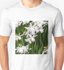 Field of blooming white daffodils Unisex T-Shirt