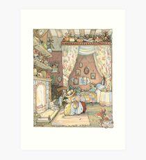 Lámina artística Lady Woodmouse prepara Primrose para la cama