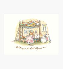 Lady Woodmouse gets the little mice into bed Art Print