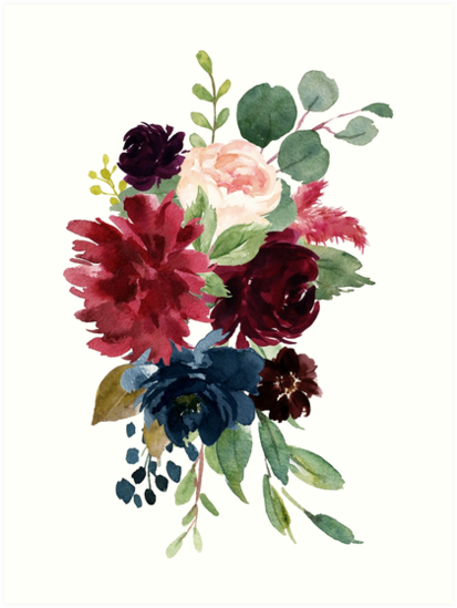 Burgundy Watercolor Floral Art Print By Junkydotcom Redbubble