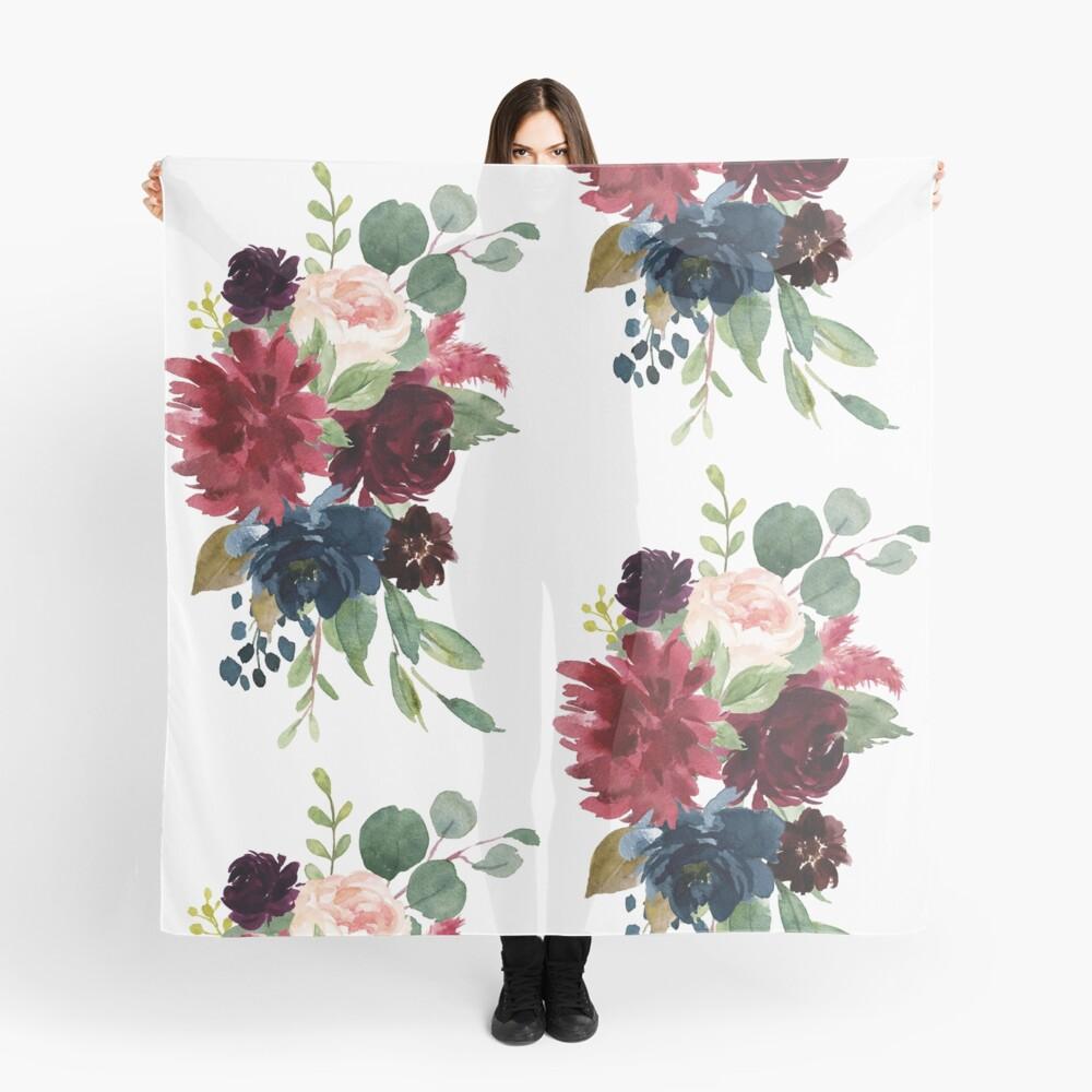 Burgundy watercolor floral Scarf
