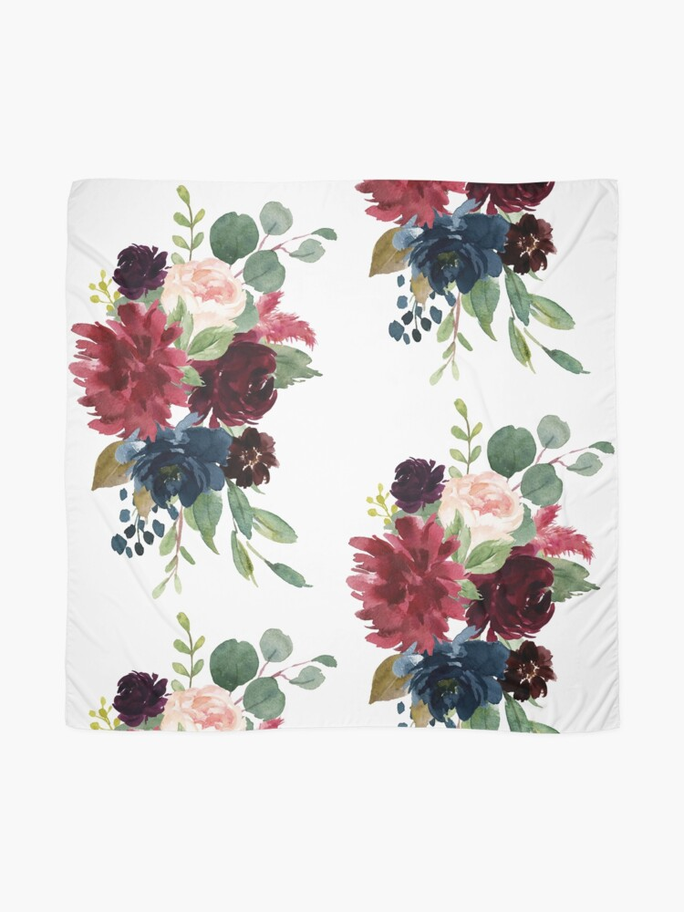 Alternate view of Burgundy watercolor floral Scarf