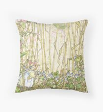 Primrose gathering flowers Throw Pillow