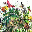 Rainbow Watercolour Splash with Runcible Mandala by TakoraTakora