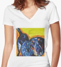 Bluetick Coonhound Dog Bright colorful pop dog art Women's Fitted V-Neck T-Shirt