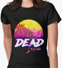 Dead Inside - Vaporwave Miami Aesthetic Spooky Mood Fitted T-Shirt