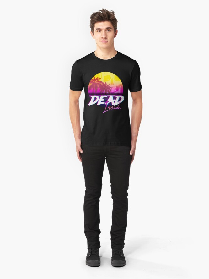 Alternate view of Dead Inside - Vaporwave Miami Aesthetic Spooky Mood Slim Fit T-Shirt