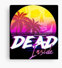 Dead Inside - Vaporwave Miami Aesthetic Spooky Mood Canvas Print