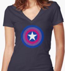 Pride Shields - Bi Women's Fitted V-Neck T-Shirt