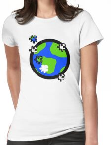 Puzzle Earth  Womens Fitted T-Shirt