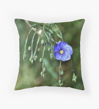 Wild Blue Flax Throw Pillow