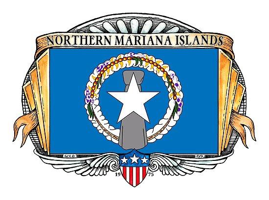 Northern Mariana Islands Art Deco Design with Flag