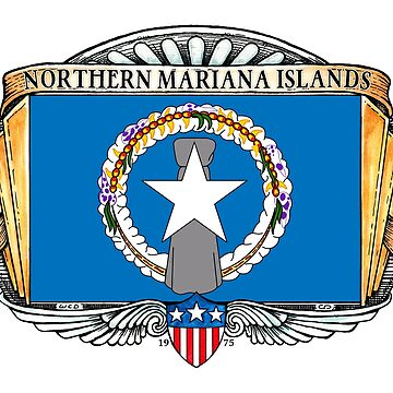 Northern Mariana Islands Art Deco Design with Flag by Cleave