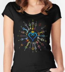 Kingdom Hearts Keyblades Women's Fitted Scoop T-Shirt