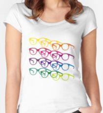 Audrey Hepburn Pop-Art-Brille Tailliertes Rundhals-Shirt