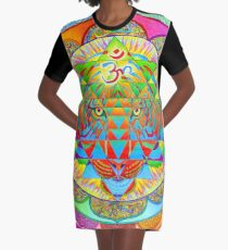 Inner Strength Psychedelic Tiger Sri Yantra Mandala Graphic T-Shirt Dress