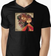 She Wore a Crown of Amaryllis V-Neck T-Shirt