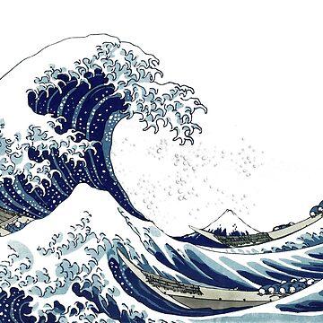 Große Welle + Seafoam, Hokusai 葛 飾 北 斎 神奈川 沖浪 von PixDezines