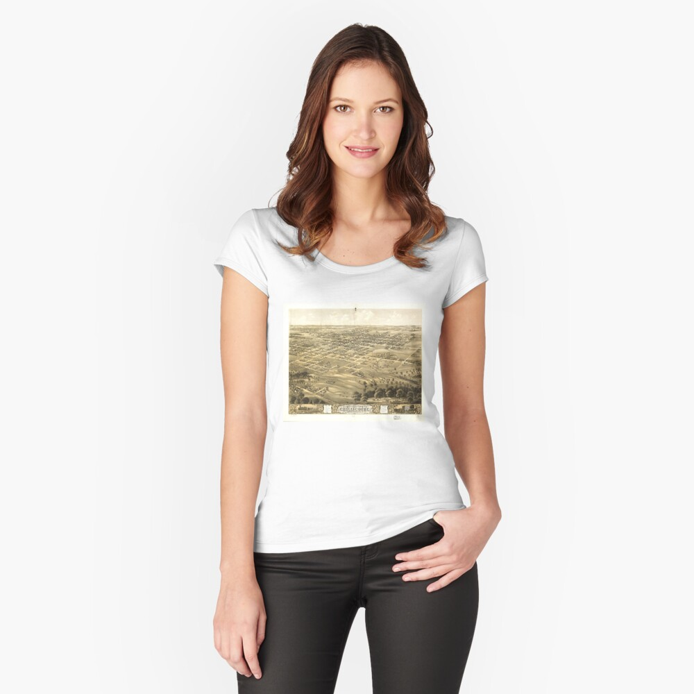 Bird's Eye View of Chillicothe, Missouri (1869) Women's Fitted Scoop T-Shirt Front